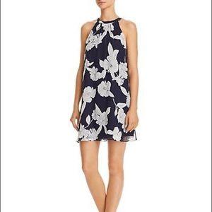 Aqua Floral Print Swing Dress